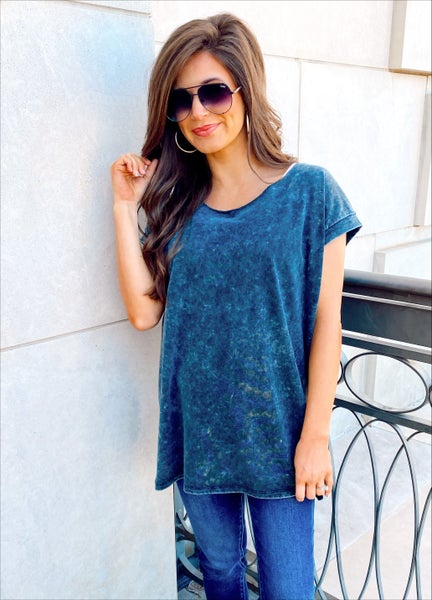 Danielle Distressed Charcoal Tunic