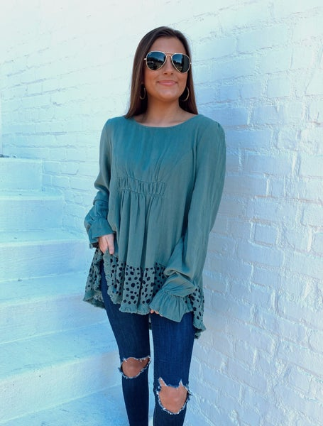 Sage and Spotted Gathered Front Top