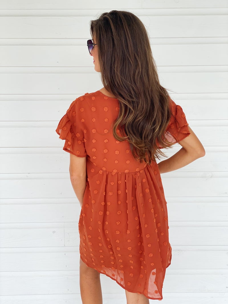 Skylar Textured Dress- Rust