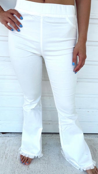 Iconic White Frayed Hem Flares