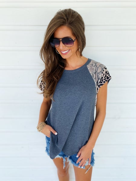 Charcoal Mix Colorblock Top