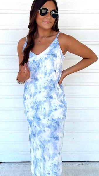 Smoky Blue Tie Dye Midi Dress