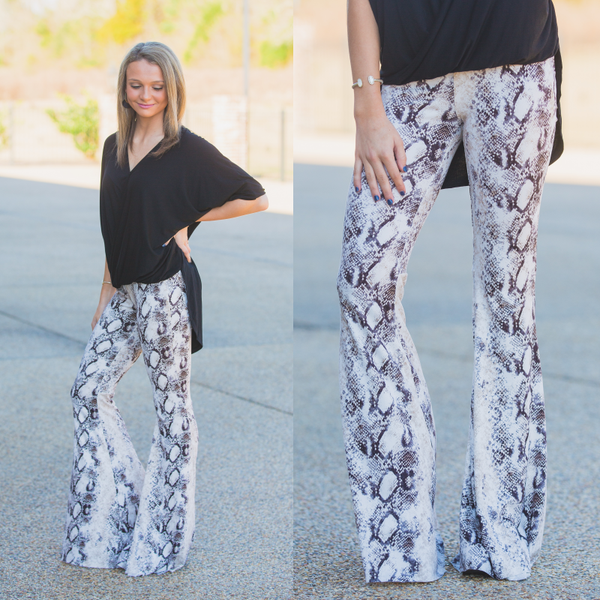 White Python Bell Bottoms