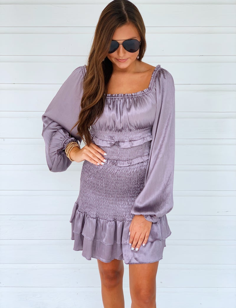 Darla Dark Silver Smocked Dress