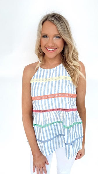 Now or Never Embroidered Striped Top
