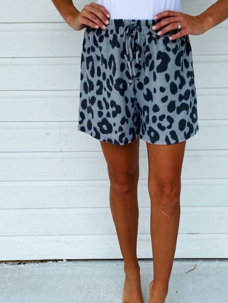 Grey Animal Print Shorts