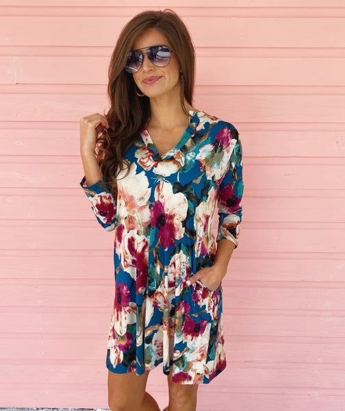 Talk About Teal Floral Dress