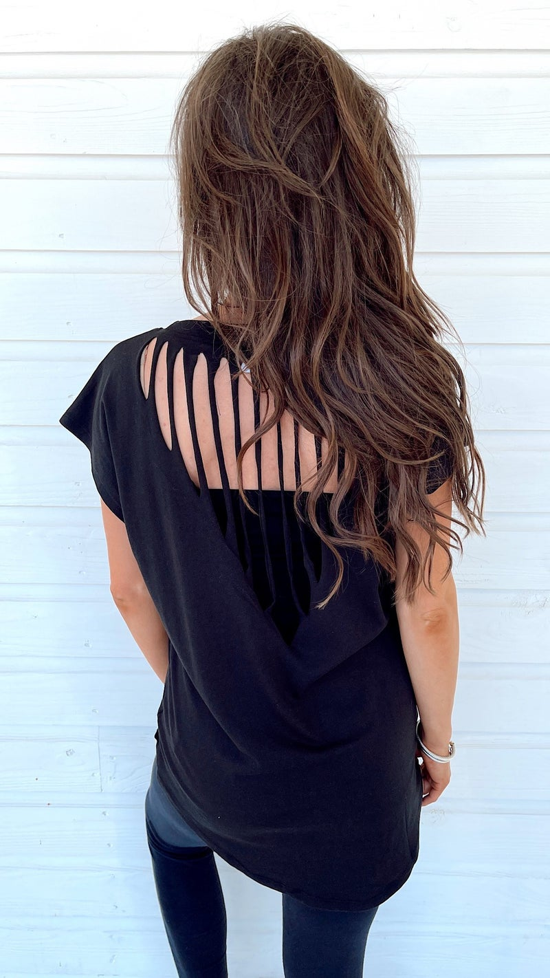 Confidence Is In Cut Out Top-Black