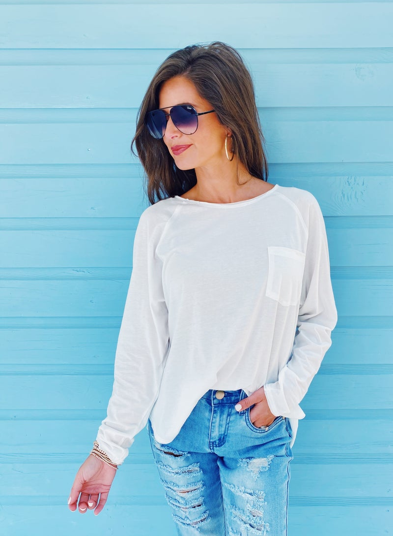 Basic White Long Sleeve Top