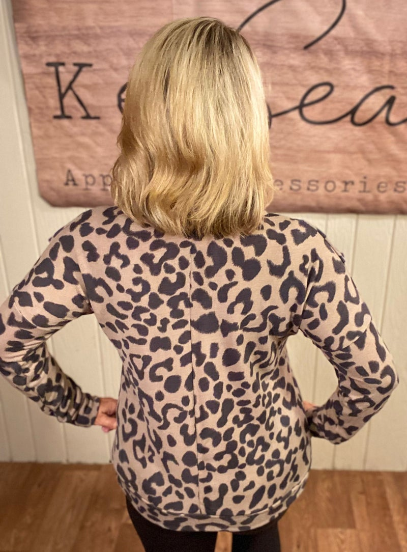 Taupe Animal Ruffle Front Top