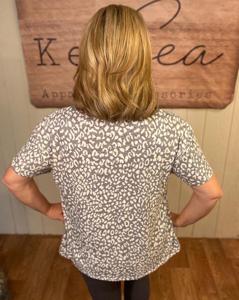 Heather Leopard  Tee