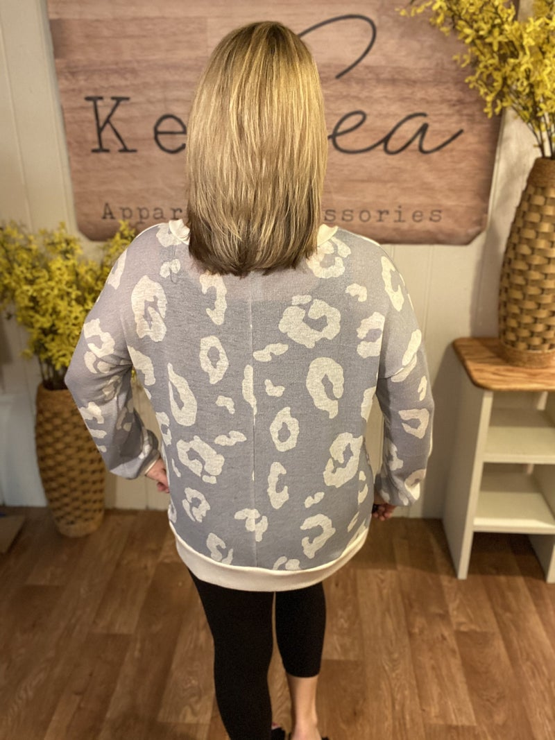 Neutral Knit Animal Top