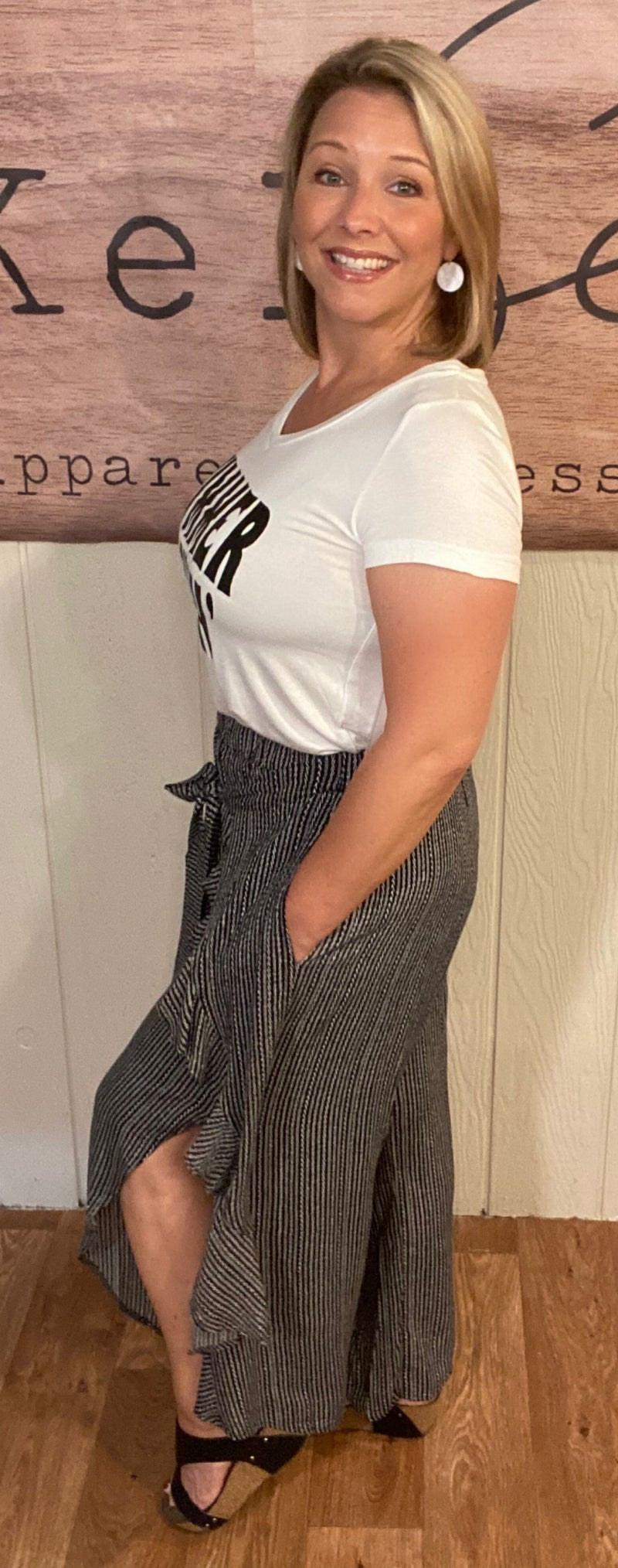 Black & White Ruffle Front  Pants