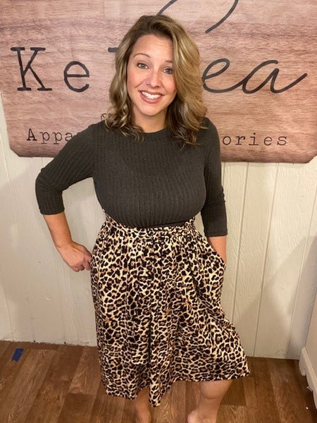 Leopard Skirt Midi Dress