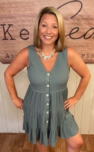 Teal Tiered Button Down Tunic