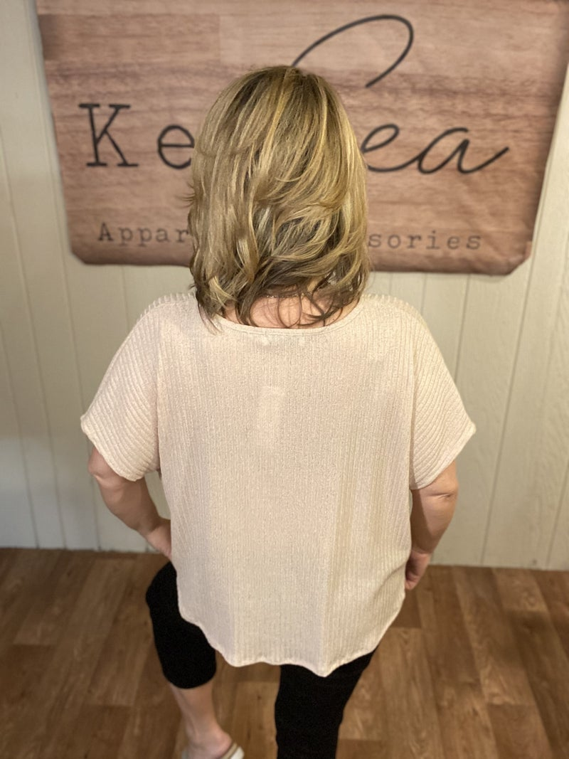 Oatmeal Ribbed Front Twist Top