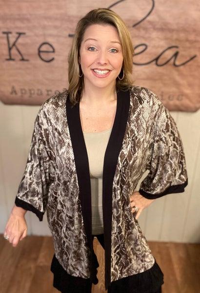 Snakeskin Open Front Kimono