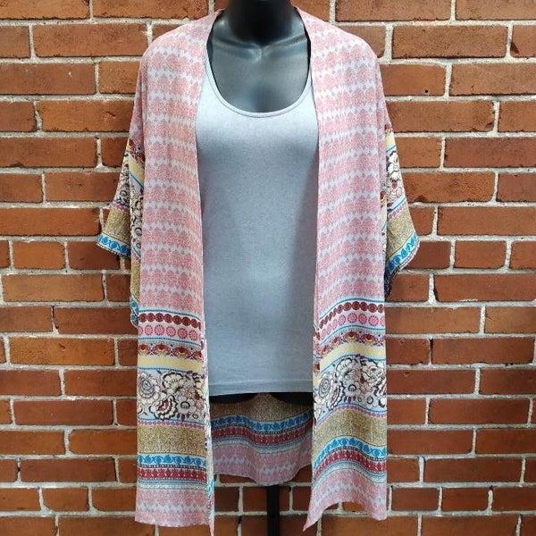 Grey Mixed Print Kimono