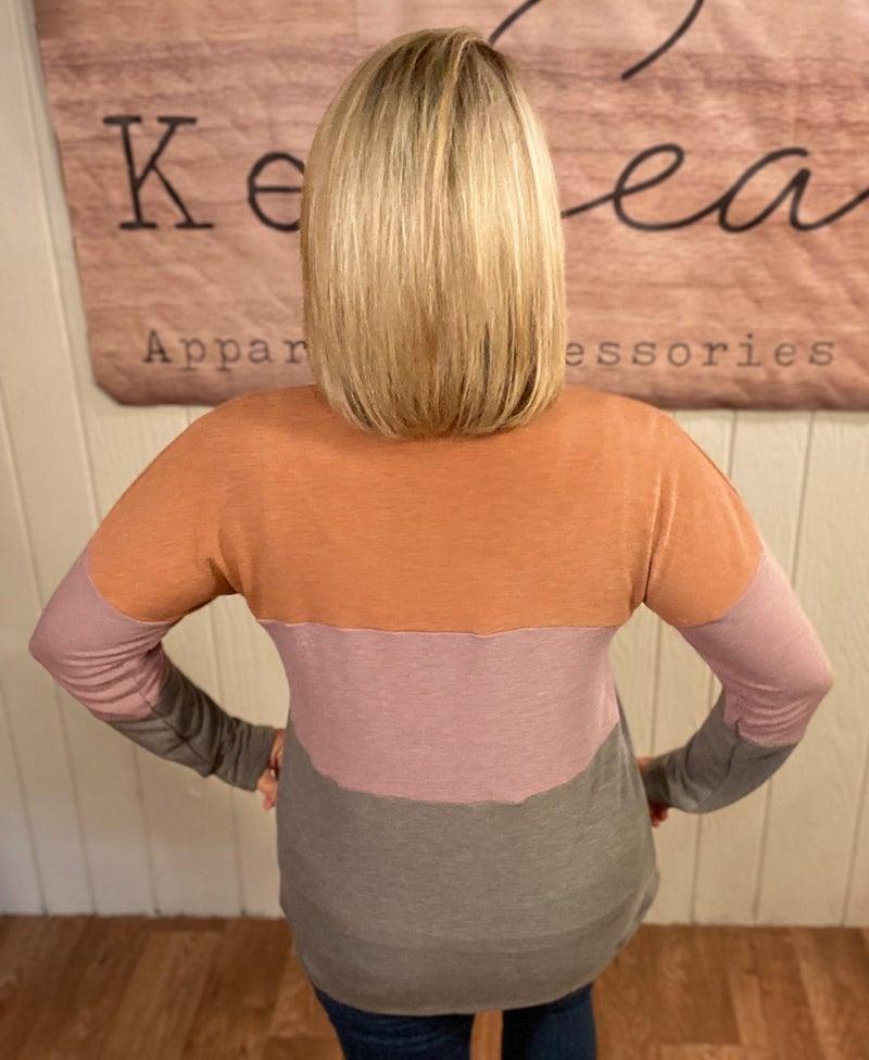Autumn Tri-Color Stripe Top