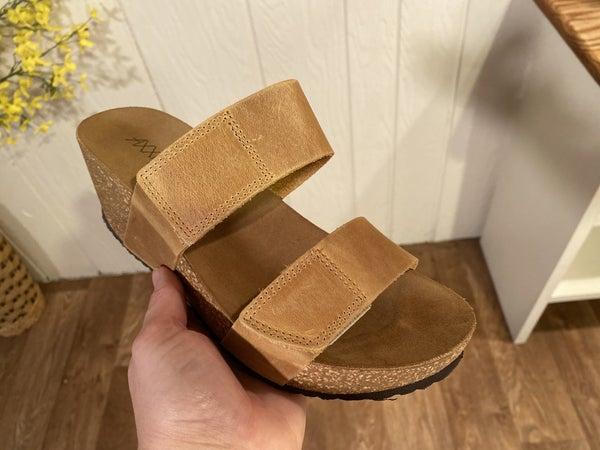 Camel Adjustable Leather Wedge Sandals