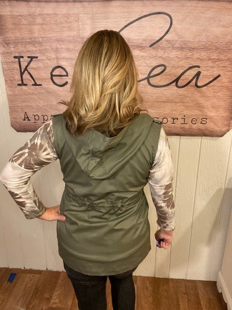 Olive Utility Vest with Hood