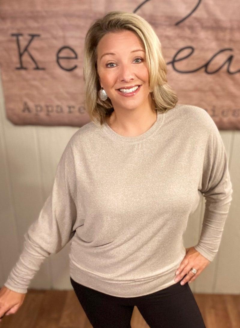 Mocha Dolman Sleeve Sweater Top