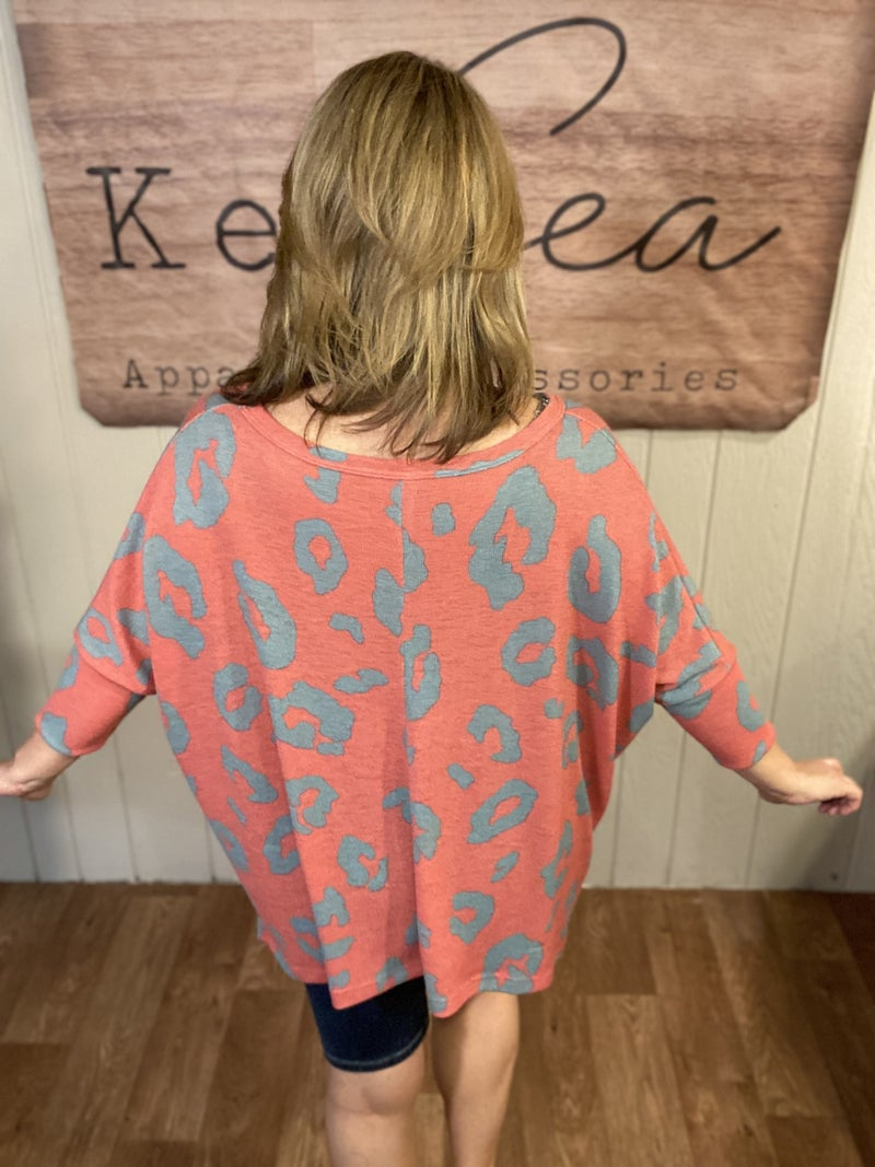 Coral & Mint Abstract Animal Top