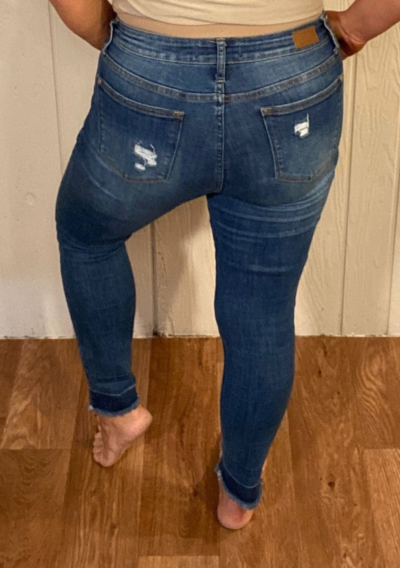 Judy Blue Deconstructed Hem Ankle Jeans