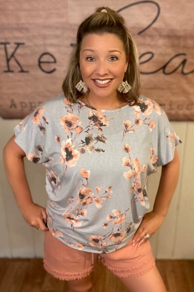 Dusty Mint Floral Tee