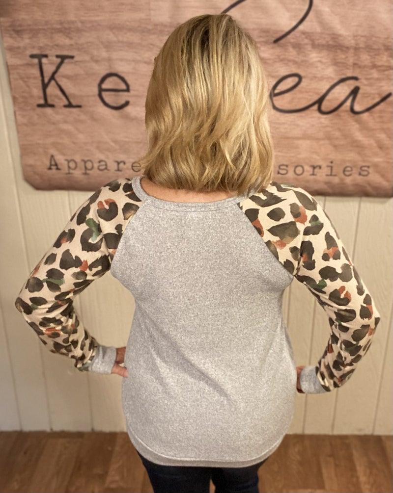 Autumn Animal Sleeve Sweater Top