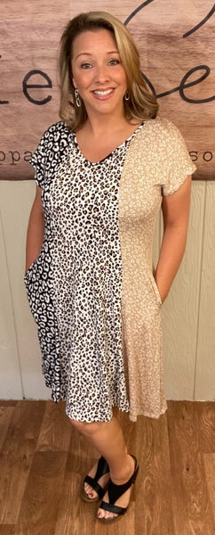 Patchwork Animal Dress with Pockets