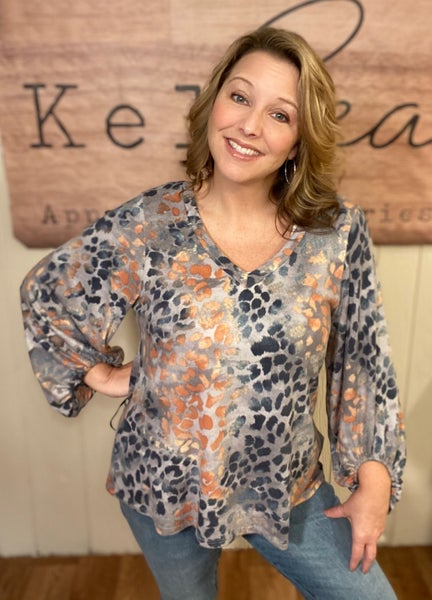 Teal & Peach Animal Print Top