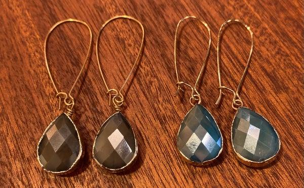 Glass Bead Bezel Dangle Earrings