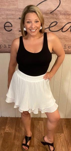 White Pleated Mini Skirt