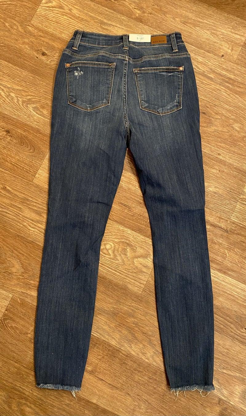 Judy Blue High Waisted Distressed Crop Skinnies
