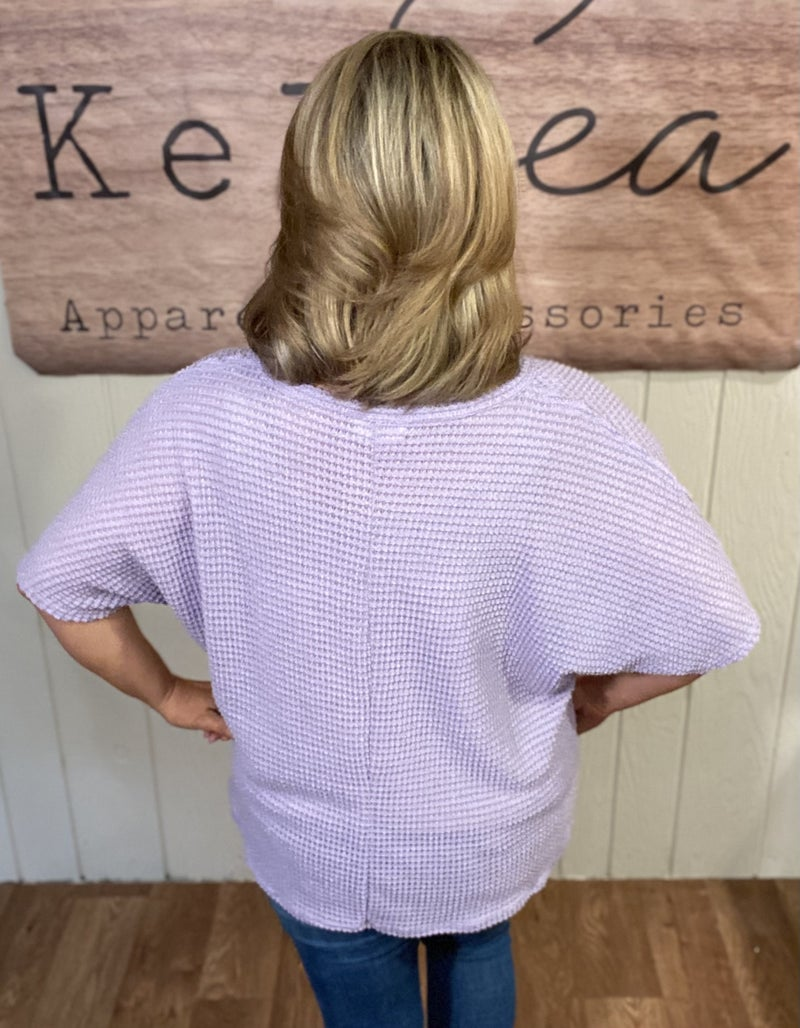 Lavender Waffle Knit Tee
