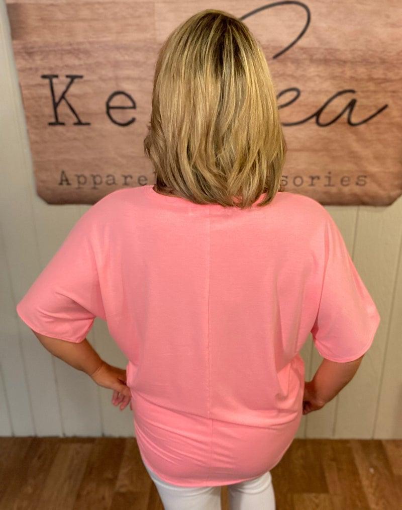 Bright Pink Tie-Front Tee