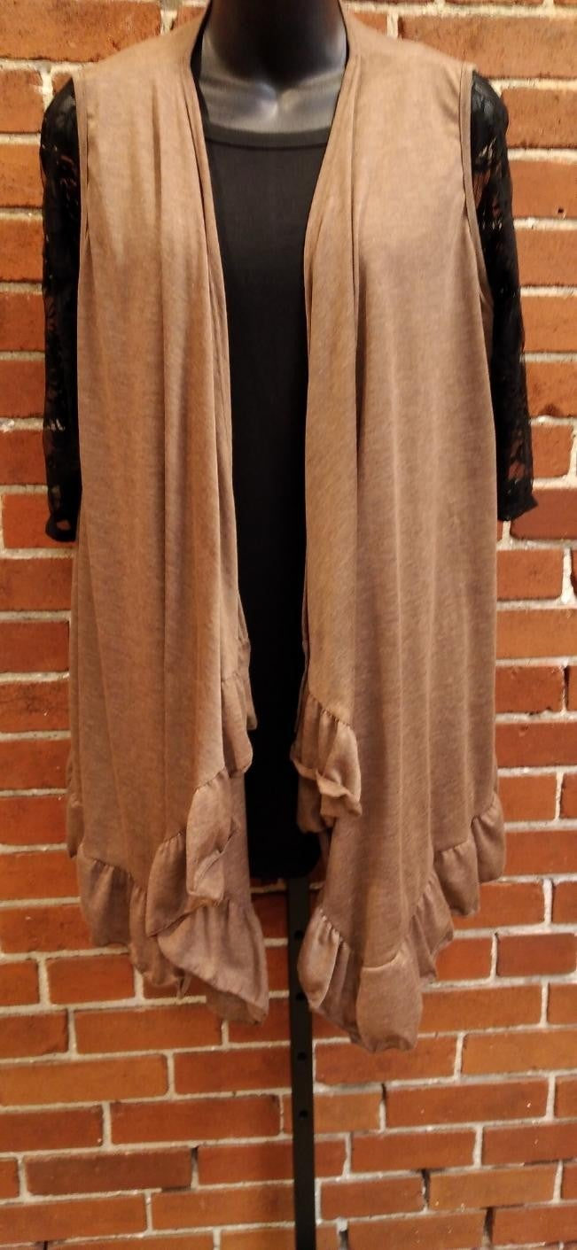 Brown Ruffle Cardigan Vest