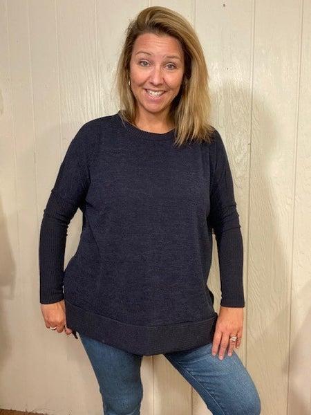 Charcoal Blue Hi-Lo Sweater Top