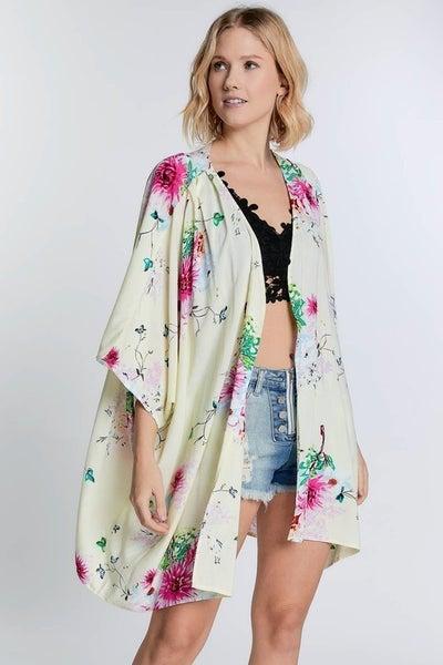 Davi & Dani - Floral Print Kimono Cardigan