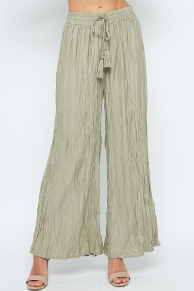 Blue B - Front Tie Ruffle Palazzo Pant - 2 Colors
