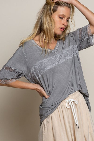 POL - Casual Knit Lace Trim Top