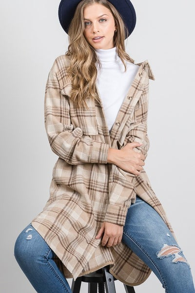 Allie Rose - Light Weight Button Front Plaid Long Shirt Jacket