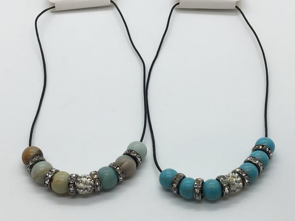 Crystal & Stone Necklace - 2 Colors