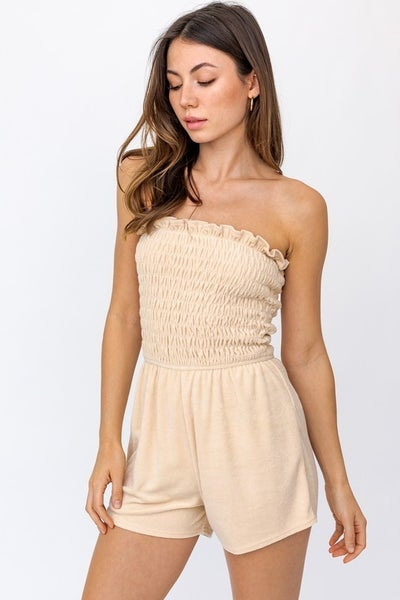 Le Lis - Solid Terry Strapless Smocked Romper