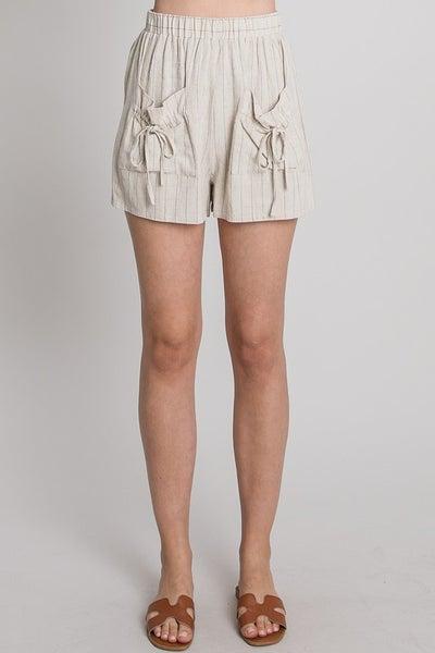 Allie Rose - Striped Linen Paperbag Shorts