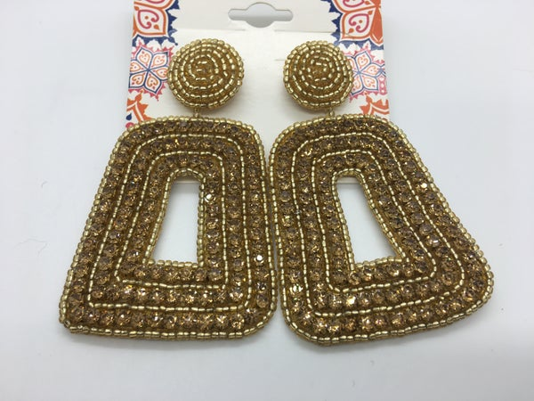 Crystal Large Gold Statement Earrings