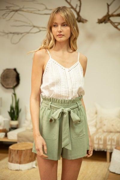 Avery Waist Tie Linen Shorts