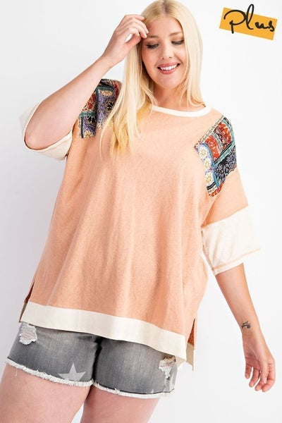 Easel - Curvy Colorful Mix Print Top