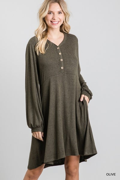 Jodifl - Flared Dress with Bubble Sleeves and Pockets